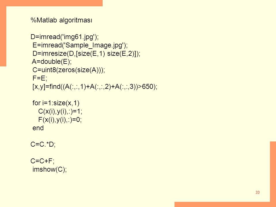 %Matlab algoritması D=imread( img61.jpg ); E=imread( Sample_Image.jpg ); D=imresize(D,[size(E,1) size(E,2)]);